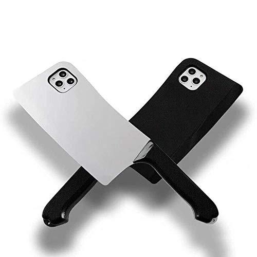 BOWFU Cassa del Telefono del Coltello da Cucina del Fumetto 3D per iPhone 12 (5.4''), Creativo Cover Custodia Morbida Antiurto Satinata - Nero
