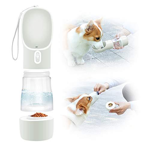 Eastlion Botella de Agua para Perros Portátil,2 en 1 Gatos Dispensador de Agua con Contenedor de Comida,a Prueba de Fugas,Mascotas Botella para Beber para al Aire Libre Viajar Caminar (Gris)