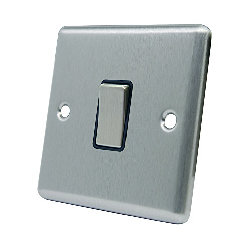 AET CSC1GSWIBS Satin Chrome Classical Black Insert Metal Rocker Switch-10 Amp Single 1 Gang 2 Way Light Switch