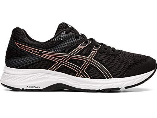 ASICS Women's Gel-Contend 6 Running Shoes, 10M, Black/Rose Gold