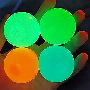 Zhangpu Bola de pared adhesiva fluorescente, 4 colores, bola adhesiva antiestrés, bolas de alivio del estrés, se puede pegar en el techo, para aliviar el estrés, para adultos y niños. de jwidufhe