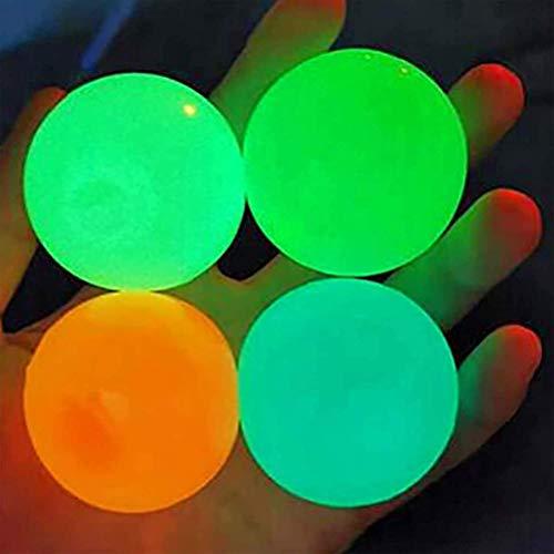 Zhangpu Bola de pared adhesiva fluorescente, 4 colores, bola adhesiva antiestrés, bolas de alivio del estrés, se puede pegar en el techo, para aliviar el estrés, para adultos y niños.