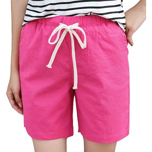 Pantalones Cortos para Mujer Verano Sueltos de Gran tamaño Casual Transpirable Ligero Todo-fósforo Pantalones Cortos de Pierna Recta Pantalones Cortos Casuales Diarios 4XL