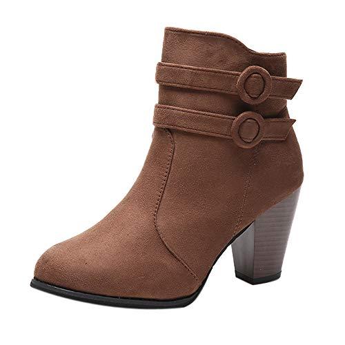 ZODOF Moda Mujer Invierno Botines Chelsea Tacón Alto Tobillo Botas Señoras Plataforma Zapatos Altos Talones Otoño…