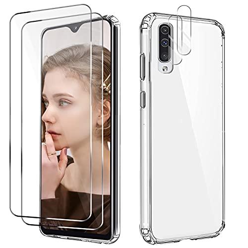 Cover per Samsung Galaxy A50 / A30s / A50s con 2 Pezzi Vetro Temperato Pellicola Protettiva e 2 Pezzi Protettore Lente Fotocamera, Custodia Transparent Protective Anti-yellow, Case in Antiurto buffer