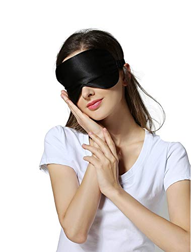 Silk Sleep Mask & Blindfold, Soft Eye Mask with Adjustable Head Strap, Deep Rest Eye Masks...