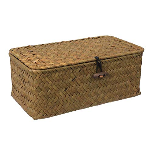 pot Wicker Storage Basket Woven Rattan Storage Box, with Lids Seagrass Laundry Baskets Makeup Organizer for Bathroom Living Room (Size : L)