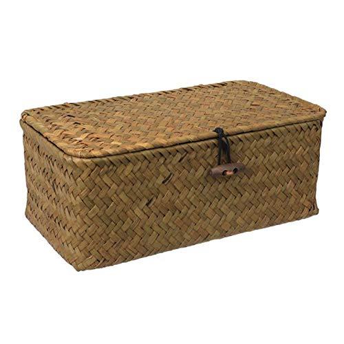 Cesta de almacenamiento de mimbre tejida de ratán, con tapas, cestas de junco marino, organizador de maquillaje para cuarto de baño y sala de estar (tamaño: L)