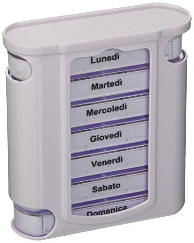 Portapillole Settimanale Tower, 4 Scomparti Estraibili, Scritte in Italiano, Portapillole per 7 giorni