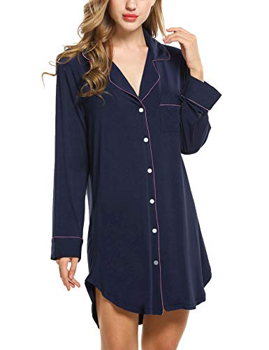 Damen Nachthemd Pyjama Negligee V-Ausschcnitt Nachtkleid Schlafshirt Langarm Modal Schlafanzüge Nachtwäsche Sleepwear Kleid, Langarm 1: Dunkelblau, L