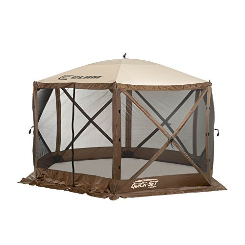 CLAM Quick-Set - 11.5 x 11.5 Foot - Escape Portable Pop Up Outdoor Camping Gazebo - 6 Sided Canopy Shelter with Ground Stakes and Carrying Bag, Brown