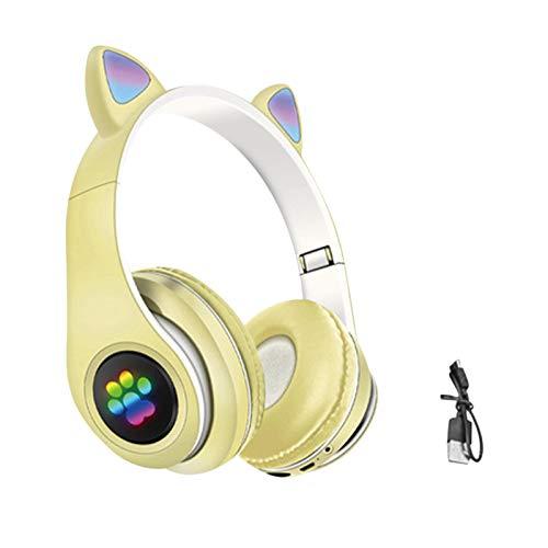 Auriculares para niños, auriculares de juego inalámbricos con orejas de gato, auriculares Bluetooth con iluminación LED plegables, limitación del volumen, radio FM, tarjeta TF, micrófono
