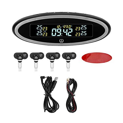 Sistema de monitoreo de presión de neumáticos Presión de los neumáticos USB ACC OBD Sistema de monitoreo de presión de neumáticos de mini cargador reloj digital 4 sensores TPMS LED Luz de la atmósfera
