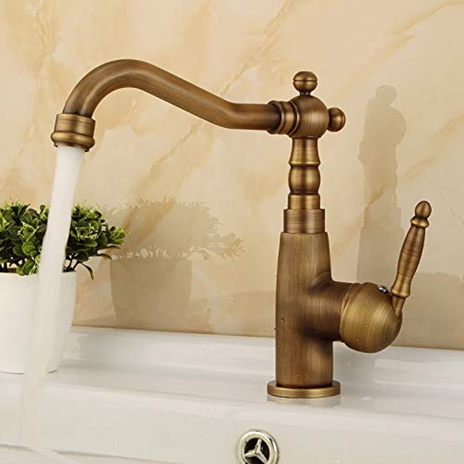 redOOY Faucet Taps Basin Faucet Copper Antique Hot And Cold Faucet Heightening Single Hole Above Counter Basin Faucet Retro Faucet