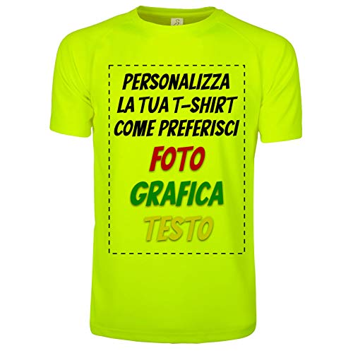 CHEMAGLIETTE! T-Shirt Personalizzata Maglietta Running Personalizzabile Fluo 100% Poliestere Traspirante (L)