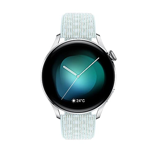 HUAWEI Reloj 3, Reloj Inteligente GPS Conectado con Sp02 y monitoreo de Salud Durante Todo el día, duración de la batería de 14 días – Correa de Nailon Azul Gris [Exclusiva de Amazon]