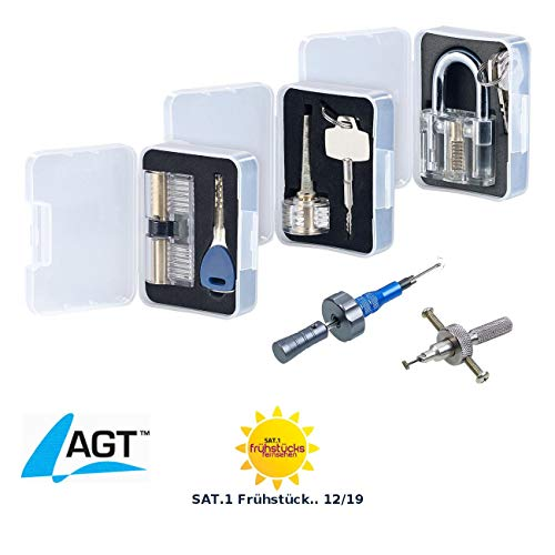 AGT Dietrich: Lockpicking-Erweiterungs-Set: 3 Übungsschlösser & 2 Profi-Werkzeuge (Lockpick Set)