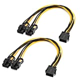 8 Pin to Dual PCIe 8 Pin (6 Pin + 2 Pin) PCIe Express Power Adapter Cable GPU VGA Y-Splitter Extension Video Graphics Card Power Cable, 2-Pack 11.8 Inches