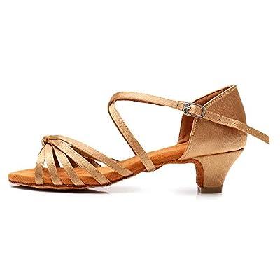 HROYL Women's Satin Latin Dance Shoes Ballroom Salsa Tango Performance Shoes Low Heel Model-SS-XGG