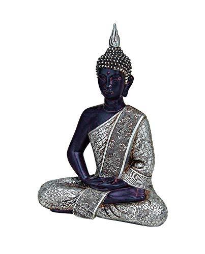 WOMA Deko Buddha Figur Sitzend mit Silbernen Verzierungen, Dekoration für Haus, Wohnung und Garten, 29cm hoch, Wetterfeste Skulptur aus Polyresin für Innen und Außen, Schwarz/Silber