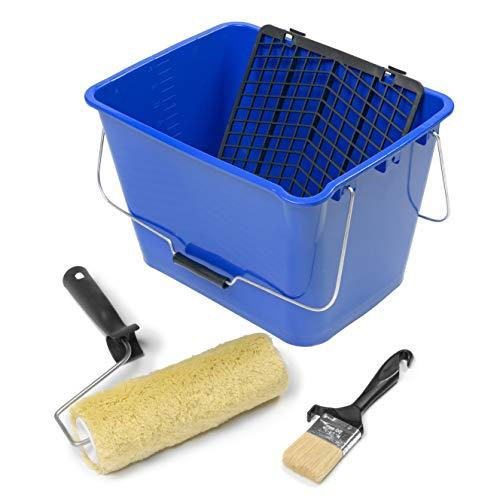 TECPINT KIT PISCINAS - Rodillo de Felpón con Cubeta Rejilla y Brocha - Cubeta 16 L con rejilla - Paletina 50mm- Especial para pintura piscinas y piedra de coronación