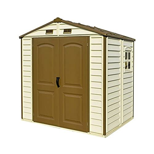 Duramax StoreAll 8' x 6' Plastic Garden Shed with Foundation Kit & Fixed Window - Ivory & Brown - 15 Years Warranty