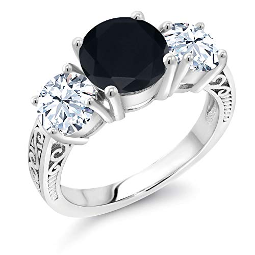 Gem Stone King 925 Sterling Silver Black Onyx and White Created Sapphire 3-Stone Women Engagement Ring (3.65 Ct Round Gemstone Birthstone, Available in size 5, 6, 7, 8, 9)