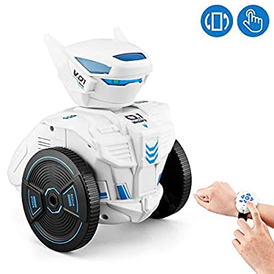 WomToy Remote Control Robot Car, 2.4G Remote Control Watch Remote Gravity Sensing Robot -Singing and Dancing with LED Lights Educational Toys for Children