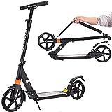City Roller Scooter Klappbar & Höhenverstellbar Roller für Erwachsene | Big Wheel Scooter Cityroller mit Doppelfederung und Tragegurt, Tretroller für Kinder ab 12 Jahre bis 100kg (Schwarz)