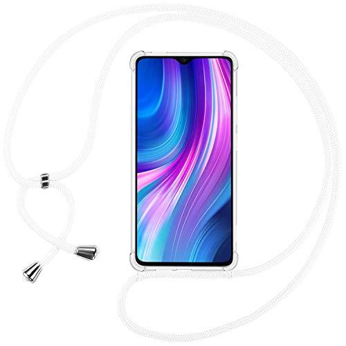 Ingen Funda con Cuerda para Xiaomi Redmi Note 8 Pro - Carcasa Transparente TPU Suave Silicona Case con Colgante - Blanco