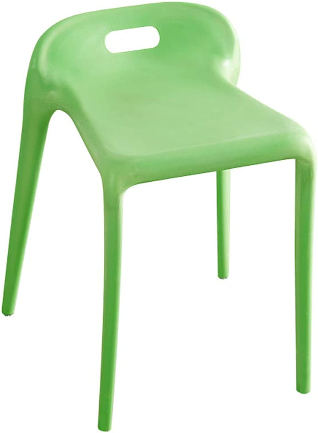 Plastic Dining Chair Living Room Home Bench, Simple Bar Stool Restaurant Table and Stool -L3132H45-56CM (color   Green)