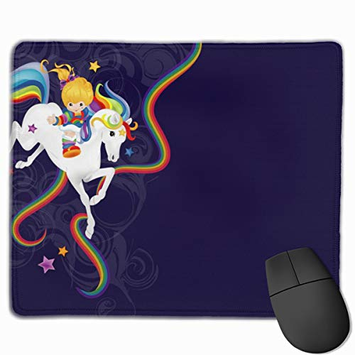 YUERF Rainbow Brite and Starlite Memories Mouse Pad Mat with Non-Slip Rubber Base - Gaming Computer Laptop Mousepad for Home Office 9.8×11.8 in