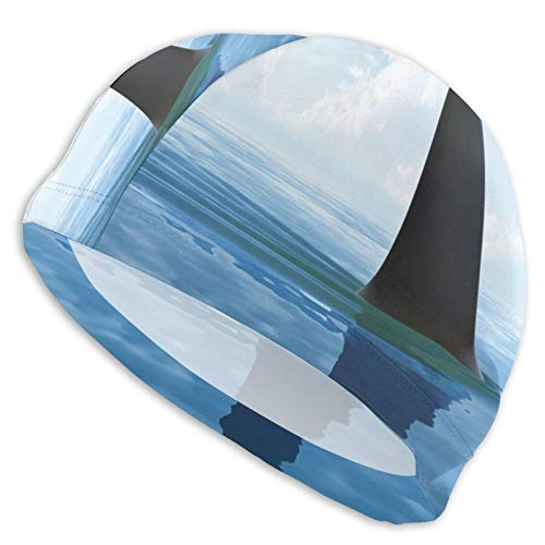 Swim Cap Shark Fish Fin Over The Sea Surface Swimming Hat for Adult Unisex Bathing Cap Swimming Pool Big Head Hair for Men Women White