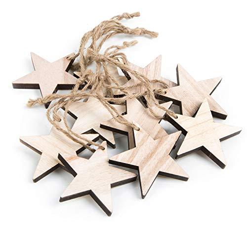 Logbuch-Verlag 10 Sterne aus Holz zum Anhängen bzw. Aufhängen an den Christbaum oder als kleines Deko Geschenk zu Weihnachten 7 cm NATUR