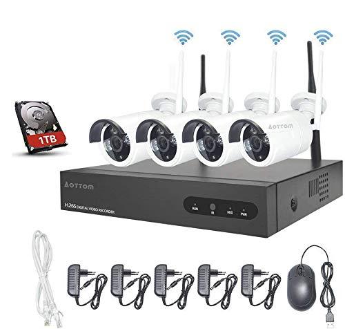 Kit de Vigilancia de Video WiFi Aottom 1080P 8CH Kit de Seguridad inalámbrica 4 Camaras, Sistema Seguridad WiFi, Visión Nocturna, Detección Movimiento, Email Alarmas, App Android/iOS, Incluye 1TB HDD