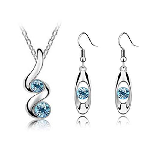 MePrecious - Juego de joyas de cristal, color azul y plateado