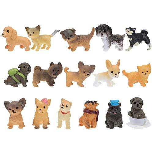 PRETYZOOM 16 pezzi in miniatura cane statuine cane torta Topper modellino collezione portatile giocattolo numeri, decorazione per Dollhouse Fish Tank auto fata giardino decorazione