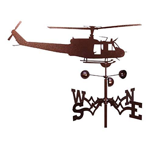 ZTGHS Veleta Indicador De Dirección del Viento, Veleta De Hierro Retro De Granja con Revestimiento Antioxidante Céspedes Exteriores Jardines Patios Traseros Adorno De Techo,Helicopters