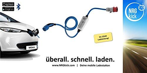 11KW, Typ 2 - LIGHT mobiles Ladestation für Elektroauto, Ladeneinheit 16A, Notladekabel mit integrierter Wallbox, 3-Phasenladung Proteus-NRGkick 16A – FI Schutzmechanismus Typ B Charakteristik - 5