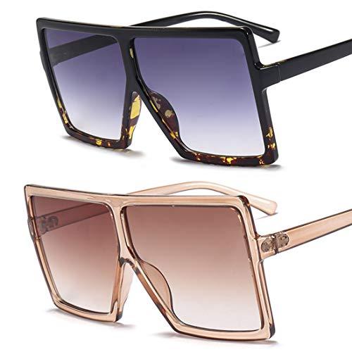 HFSKJ Paquete de 2 Gafas de Sol, Gafas de Sol con Montura Cuadrada Grande, Gafas de Sol para Mujer, Gafas de Sol de Moda para Todos los Partidos,B