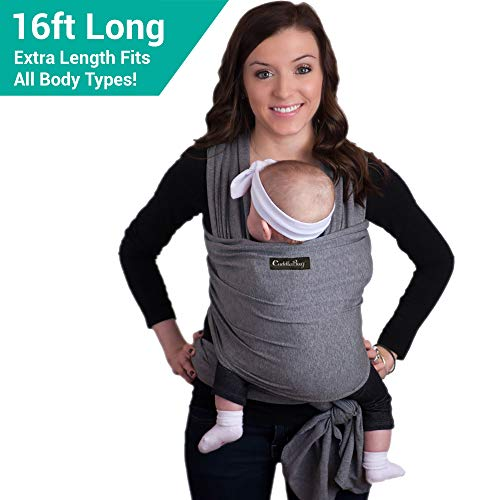 9-in-1 CuddleBug Baby Wrap Sling + Carrier - Newborns & Toddlers up to 36 lbs - Hands Free - Gentle,...