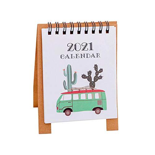 Mini Desk Calendar, 5.1'x3.7' 2021 Cute Design Standing Flip Desktop Calendar for Monthly Plan,Sep 2020 to Dec 2021- Cactus