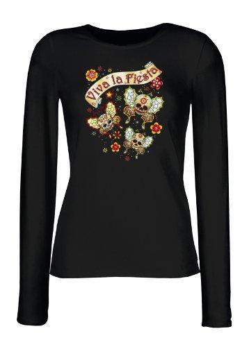 Lady Langarmshirt - Viva la Fiesta - Schmetterlinge - USA Damen Shirt mit Motiv als Geschenk für Mexiko Fans mit Humor