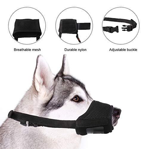 Xinstroe Schwarze Hundemündung Weiche Nylon-Hundemündungen Anti-Bellen und Kauen mit Einstellbarer Schlaufe Atmungsaktives Netz(S)