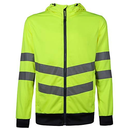 DFTD Men's High Visibility Class 3 Sweatshirt,Full Zip PK Polar Fleece hoodie, Lightweight (X-Large)