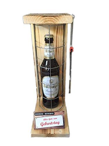 Alles Gute zum Geburtstag - Eiserne Reserve - Bitburger Pils 0,50L mit Eisensäge - witziges Biergeschenk - Vatertagsgeschenk – Geburtstagsgeschenk -Männergeschenk -