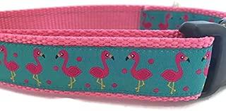 Animal Dog Collar, Caninedesign, Hippo, Flamingo, 1 inch Wide, Adjustable, Nylon, Medium and Large