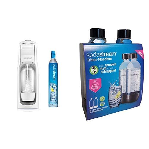 Sodastream Jet Gasatore d'Acqua Frizzante, Bianco, 43 cm & 2 Bottiglie per gasatore d'Acqua, Universali, Lavabili in Lavastoviglie, Capienza 1 litro, Trasparenti, per Modelli Jet, Spirit, Source