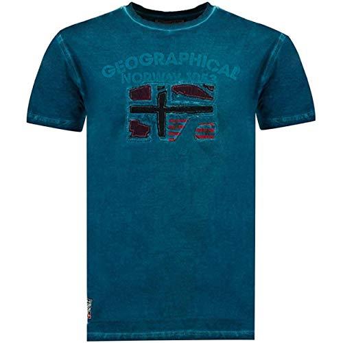 Geographical Norway JOTZ Men - Maglietta Cotone Uomo - T-Shirt Logo Stampa - Maniche Corte - Girocollo Scollo Regular Fit Casual Stile Prodotto Anatra Blu XXL