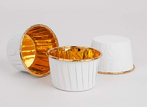 GOLDEN APPLE, Aluminum Foil Paper Mini Cake Baking Cups 50 Pack, Muffin Cupcake Baking Mold Cup Liners Baking Cups for Party Wedding Festival, cupcake liners, White in Gold